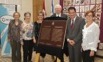 photo - At the Oct. 23 ceremony for the unveiling of a plaque honouring National Council of Jewish Women of Canada's 120 years of service are, from the left, Sharon Allentuck, Gloria Roden, Debbie Wasserman, Dr. Richard Alway, Councilor James Pasternak and Eva Karpati