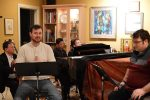 photo - Left to right are Dávid Szigeti (cello), Erik Gow (who plays Alvin Kelby), Kevin Woo (clarinet), Wendy Bross Stuart (piano, music director) and Chris Adams (who plays Thomas Weaver), in rehearsal for The Story of My Life, which is at the Canadian Music Centre for five remaining performances, Nov. 25 and 30, Dec. 1 and 2, 8 p.m., and Nov. 26, 2 p.m.