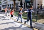 photo - Children follow the new Independence Trail in Tel Aviv