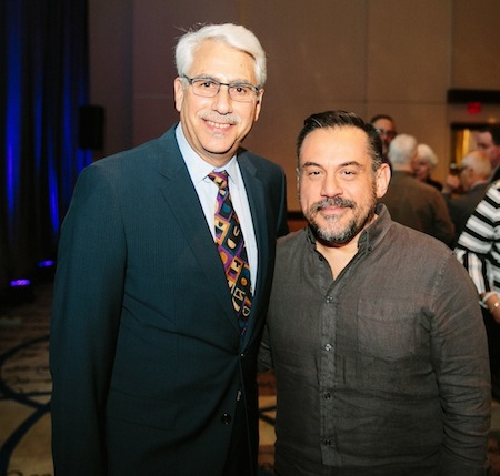 photo - Jewish Family Services executive director Richard Fruchter, left, and entrepreneur, venture capitalist and author Leonard Brody