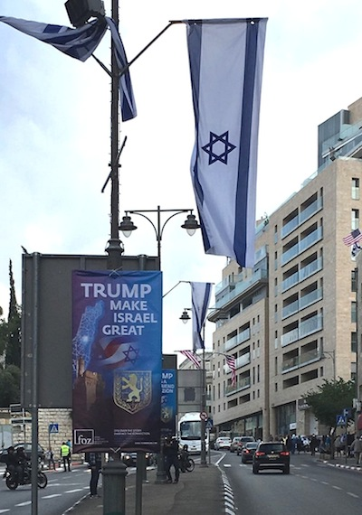 photo - Israelis waited for Monday's opening in the city of the new American embassy