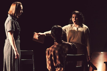 photo - Left to right: Diana Beairsto (Margot), Gina Leon (Edith) and Morgan Hayley Smith (Anne) in The Diary of Anne Frank, which is at Havana Theatre until June 23
