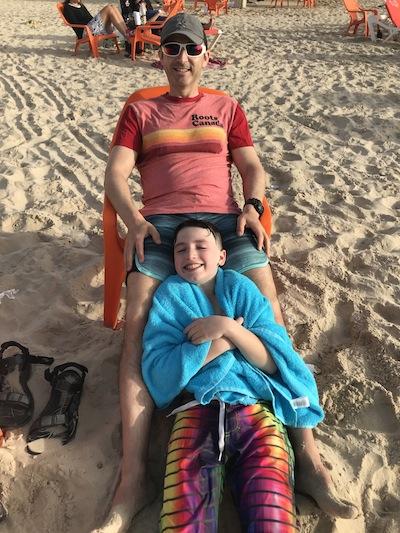 photo - Daniel and Max Dodek enjoy the beach