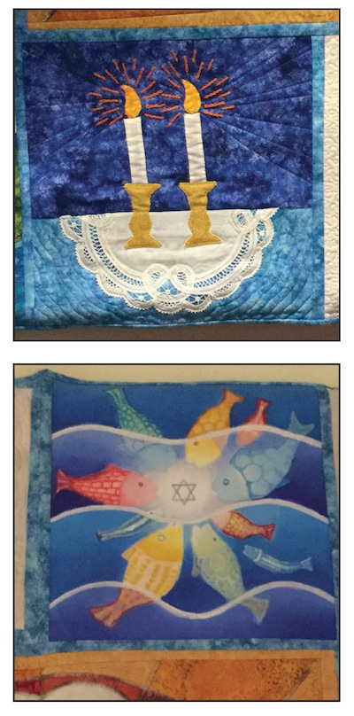 photo - Each panel was created by a different artist. Annette Wigod sewed Shabbat candles, using an antique doily as the tablecloth and Phyllis Serota painted fish coming toward a Magen David (acrylic on canvas)