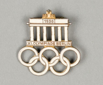 photo - A souvenir pin from the 1936 Berlin Olympics, part of the Vancouver Holocaust Education Centre's permanent collection and the exhibit In Focus: The Holocaust Through the VHEC Collection