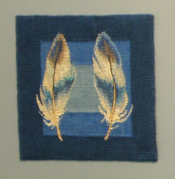 photo - Barbara Heller made a series of small tapestries of her feather collection, Sephirot, specifically for the Zack show