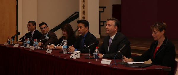 photo - Left to right are David Chen, Hector Bremner, Wai Young, Ken Sim, Kennedy Stewart and Shauna Sylvester