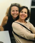 photo - Claudie Azoulai, left, and Nicole Schouela. Their work comprises the exhibit Heart to Heart, which is at the Zack Gallery until Nov. 9