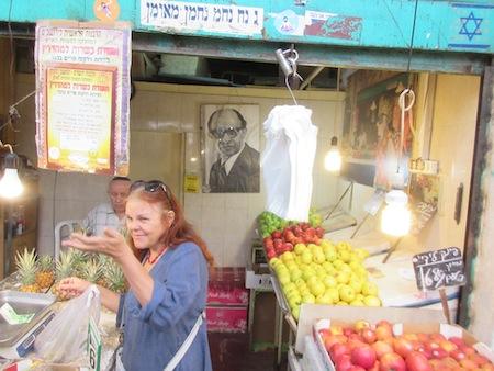 photo - Politics and produce mix at Mechane Yehuda market in Jerusalem