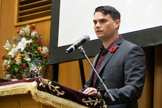 photo - Ben Shapiro responded to 22 questions at the Faigen Family Lecture on Oct. 30