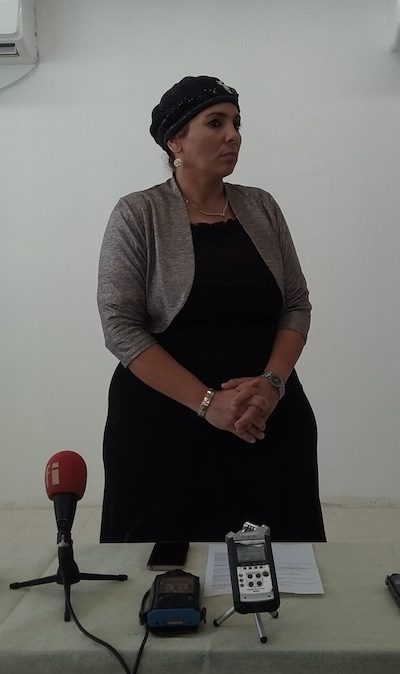photo - Miri Asulin, mother of seven and principal of a brand-new elementary school, hosted the media recently to talk about the impacts of the rocket and mortar attacks from Gaza
