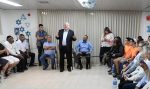 photo - Israeli President Reuven Rivlin addresses a group of local residents in a protected space in the northern Negev city of Netivot on Nov. 13
