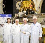 photo - Left to right: Inbal Krayes, Morris Kahn, Sylvan Adams and Dr. Ido Anteby at the Israel Aerospace Industries facility in Yehud, Israel