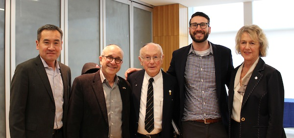 photo - IHRD at Hillel, right to left, Michael Lee, Rabbi Philip Bregman, Robbie Waisman, Sam Heller (Hillel BC), Joyce Murray