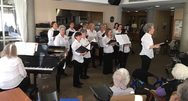 photo - Temple Sholom Sisterhood Choir under the direction of Joyce Cherry with pianist Kathy Bjorseth