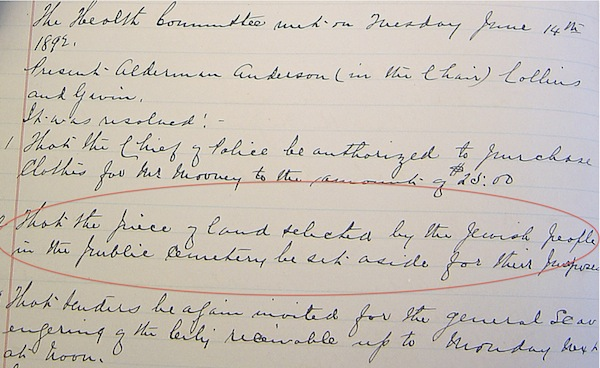 """photo - In addition to the transcribed council minutes, transcribimus.ca includes photos of the minute book pages. This image is of the June 20, 1892, minutes, which note that the health committee had resolved, among other items, """"[t]hat the piece of land selected by the Jewish people in the public cemetery be set aside for their purposes."""""""
