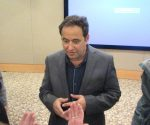 photo - Prof. Amir Amedi of the Hebrew University answers questions from attendees at a Jan. 16 presentation