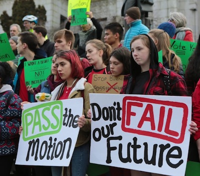 photo - On Jan. 16, students walked out of school to be at Vancouver City Hall to raise awareness of the climate crisis and support Councillor Christine Boyle's motion to declare a climate emergency