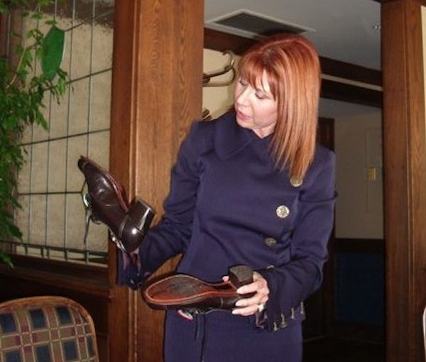 photo - Penny Sprackman receives the special shoes on her 60th birthday, in 2006