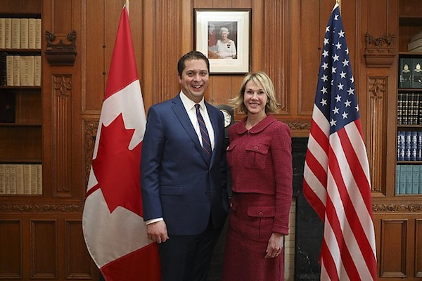 photo - Conservative party leader Andrew Scheer with then-U.S. ambassador to Canada Kelly Knight Craft, in Ottawa, Jan. 9, 2018