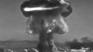 photo - A single frame from Reva Stone's Atomic Bomb video piece