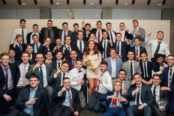 "photo - Alpha Epsilon Pi chapter members with the fraternity's ""sweetheart,"" Rachel Meadow. A ""sweetheart"" is elected every year at the chapter's formal"