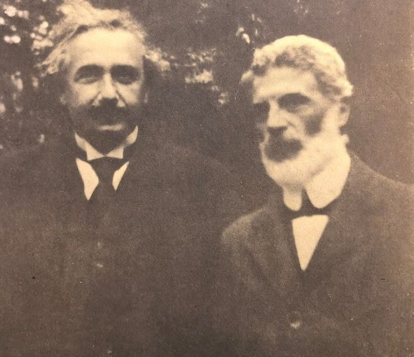 photo - A newly acquired photograph of Albert Einstein, left, with his lifelong friend Michele Besso