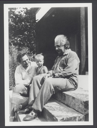 photo - Albert Einstein, right, with his grandson Bernhard, centre, and son, Hans Albert