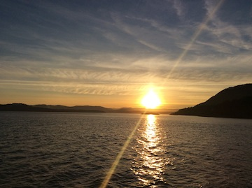 photo - The November sunset as seen from the ferry, en route home