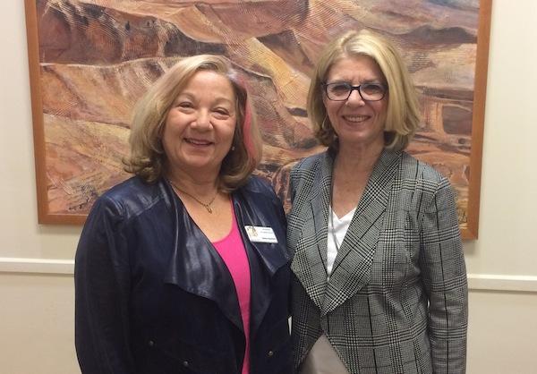 photo - Organizer Debbie Rootman, left, and guest speaker Janice Porter at Temple Sholom Sisterhood's networking event Feb. 28