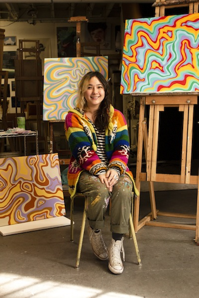 photo - Tara Lupovici with some of her work