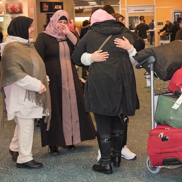 photo - Members of the Alsedawe family at YVR: Fayzeh, Hanan, Mahros and Hanadi