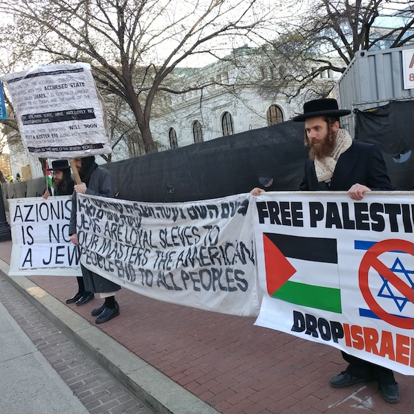 photo - Protesters at this year's AIPAC Policy Conference, in Washington, D.C., last month