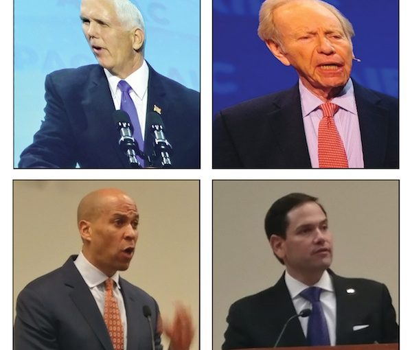 photo - Clockwise, from top left: U.S. Vice-President Mike Pence, Joe Lieberman, Senator Marco Rubio and Senator Cory Booker address attendees of last month's AIPAC Policy Conference
