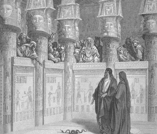 """image - """"Moses and Aaron Appear before Pharaoh,"""" from Gustave Doré's English Bible, 1866"""