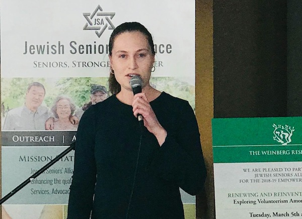 photo - Eireann O'Dea speaks at the March 5 session of the Jewish Seniors Alliance Empowerment Series
