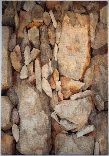 "photo - Fabric artist Barbara Heller has donated her work ""Stones 22 – Stonefall"" to Temple Sholom's Dreamers and Builders fundraiser"