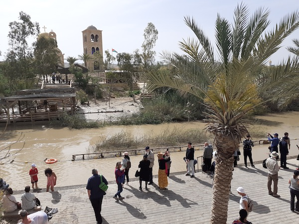 photo - An April 15 press tour took journalists to the Israeli side of the Jordan River. Joshua and the Israelites made their crossing here