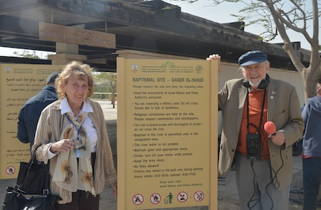 photo - Writer Sybil Kaplan with friend Walter Bingham, who, in his 90s, is the oldest working journalist in Israel