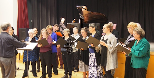photo - The Vancouver Jewish Folk Choir in a performance last fall at the Peretz Centre, led by conductor David Millard, with pianist Danielle Lee