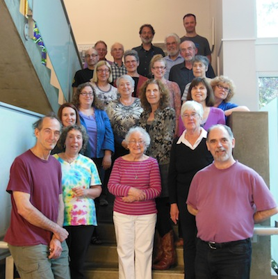 photo - A photo of the choir in 2014. At centre is Sylvia Friedman. Front left is former choir accompanist Elliott Dainow and front right is conductor David Millard