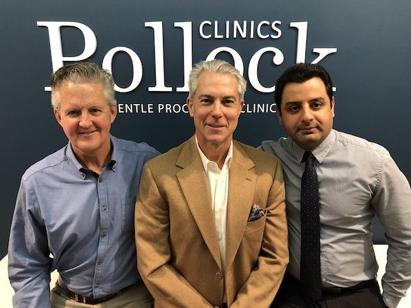 photo - Left to right: Pollock Clinics sex therapist Tom Foster and physicians Neil Pollock and Roozbeh Ahmadi