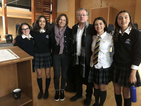 photo - Left to right: KDHS students Gali Goldman and Edden Av-Gay, Dr. Robert Krell's daughter Simone Kallner, Dr. Robert Krell and his granddaughters Estie Kallner and Mattea Lewis
