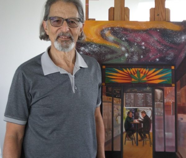 """photo - Jack Rootman, in front of his painting """"Homage to Degas"""""""