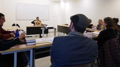 photo - Sephardi track director Hacham David Menachem (holding the oud)