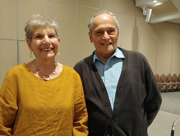photo - Keynote speaker Irene Dodek and Bill Gruenthal, from the Temple Sholom 60+ group, at the latest JSA Snider Foundation Empowerment Series event, which took place May 15