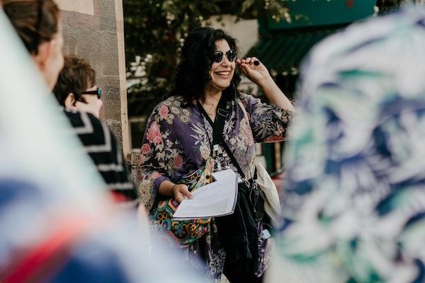 photo - Tour organizer Carmel Tanaka at one of the tours last stops