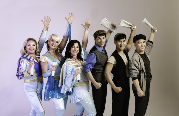 photo - Left to right: Sheryl Wheaton as Rosie, Lori Ashton Zondag as Tanya and Caitriona Murphy as Donna in Mamma Mia! with Adam Charles as Jack, Caleb Lagayan as Race and Graeme Kitagawa as Mush in Disney's Newsies