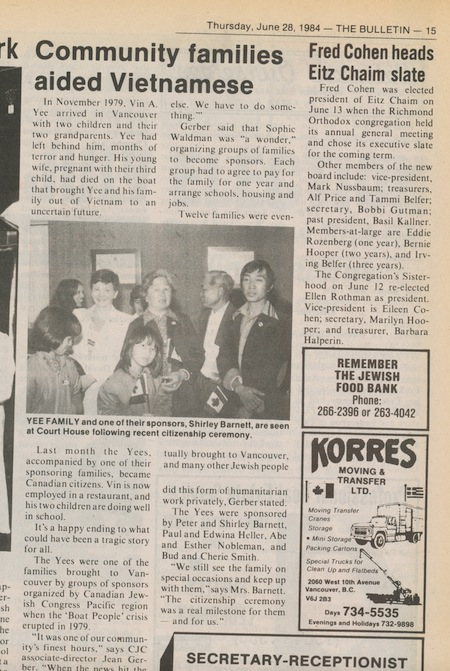 image - An article in the Jewish Independent's predecessor about Sui Khuu and her family's citizenship ceremony in 1984