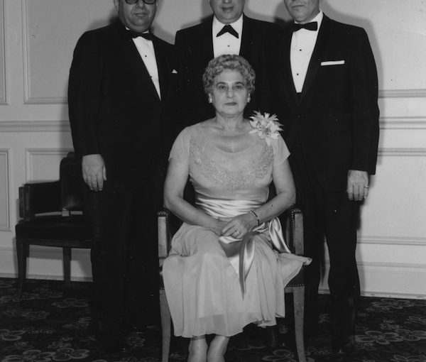 photo - Lil Shapiro with three unidentified men, at a Jewish National Fund event, 1960